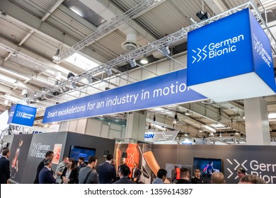 HANNOVER / GERMANY - APRIL 02 2019 : German Bionic presents first robot exoskeleton for the Industrial IoT at the HANNOVER FAIR.