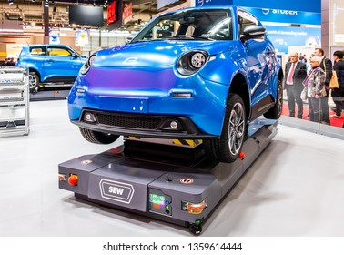 HANNOVER / GERMANY - APRIL 02 2019 : SEW Eurodrive is presenting the production of the new electric E.GO car at the HANNOVER FAIR.