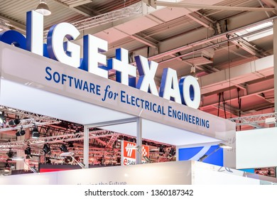HANNOVER / GERMANY - APRIL 02 2019 : IGE XAO is displaying new innovations at the Hannover Messe.