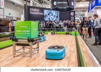 HANNOVER / GERMANY - APRIL 02 2019 : Casun is presenting the newest generation of automated guided vehicles at the HANNOVER FAIR.