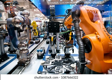Hannover, Germany - April, 2018: Schunk assembly electronics line with robots on Messe fair in Hannover, Germany