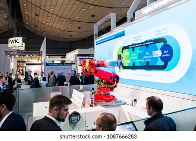 Hannover, Germany - April, 2018: Siemens presenting Mabi robotic on Messe fair in Hannover, Germany