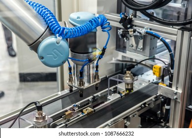 Hannover, Germany - April, 2018: Universal Robots presenting examples show how flexible and individual UR robots can be used for every requirement and application on Messe fair in Hannover, Germany