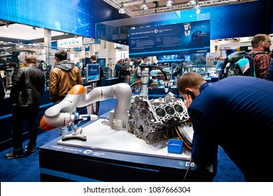 Hannover, Germany - April, 2018: Universal Robots UR5 equipped with Schunk grippers on Messe fair in Hannover, Germany