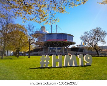 Hannover, Germany - April 2019: Hashtag sign for the Hannover Messe 2019 edition outside on the fairgrounds