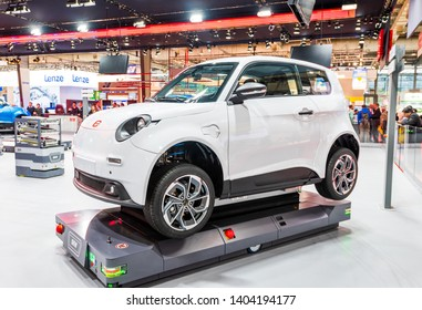 Hannover, Germany - April 2019 - SEW presents new electric E.GO car at the HANNOVER FAIR