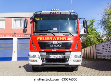 HANNOVER / GERMANY - APRIL 25, 2017: A fire engine is driving to a fire