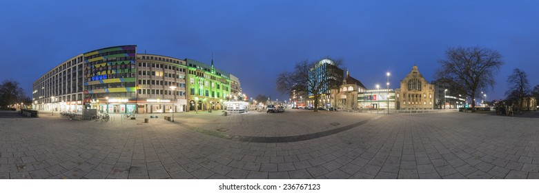 HANNOVER, GERMANY - DECEMBER 05, 2014: Hannover at evening. 360 degree panorama.