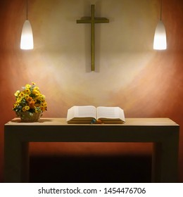 Hannover, Germany, July 17., 2019: Simple puristic Spartan altar of the airport chapel from a table with a bouquet of flowers and an open Bible under a cross on the wall
