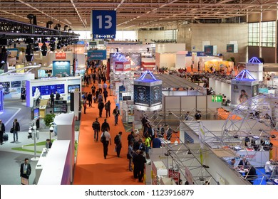 Hannover, Germany - June 13, 2018: Overview of Hall 13 with several booths at the CeBIT 2018. CeBIT is the world's largest trade fair for information technology.