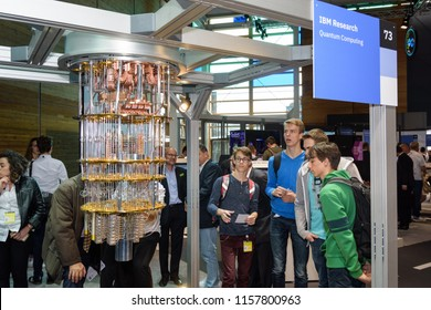 Hannover, Germany - June 13, 2018: IBM shows a model of quantum computer at their pavilion at CeBIT 2018. CeBIT is the world's largest trade fair for information technology.