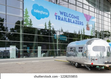 Hannover, Germany - June 13, 2018: Huge avertising poster of the company salesforce out on their hall at CeBIT 2018. CeBIT is the world's largest trade fair for information technology.