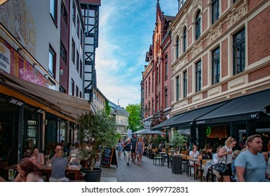 HANNOVER, GERMANY. JUNE 19, 2021. Cafe Alt Hanovera facade People walking around