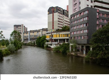 HANNOVER, GERMANY - June 22, 2018: The Ihme Centre in Hannover Linden-Mitte is a highly controversial brutalist building complex with ca 800 apartments built in 1975.