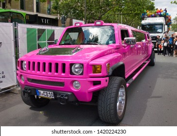 Hannover, Germany, June 8., 2019: SUV Jeep converted to a stretch limousine, pink painted, at the CSD Parade in Germany