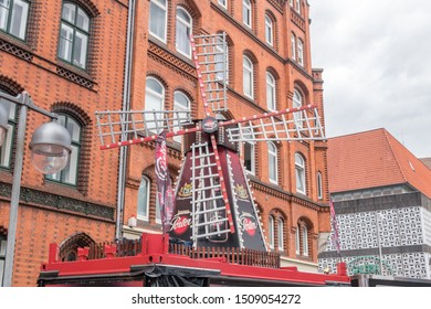 Hannover, Germany - June 8, 2019: Windmill with Lausitzer Porter beer advertising.