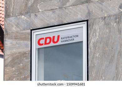 Hannover, Germany - June 8, 2019: Sign of Christian Democratic Union of Germany (German: Christlich Demokratische Union Deutschlands or CDU).