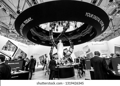 HANNOVER, GERMANY - MARCH 14, 2016: Booth of Software AG company at CeBIT information technology trade show in Hannover, Germany on March 14, 2016.