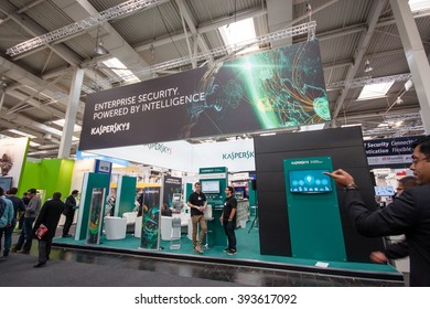 HANNOVER, GERMANY - MARCH 14, 2016: Booth of Kaspersky Lab company at CeBIT information technology trade show in Hannover, Germany on March 14, 2016.