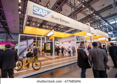 HANNOVER, GERMANY - MARCH 14, 2016: Booth of SAP company at CeBIT information technology trade show in Hannover, Germany on March 14, 2016.