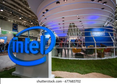 HANNOVER, GERMANY - MARCH 14, 2016: Booth of Intel Corporation at CeBIT information technology trade show in Hannover, Germany on March 14, 2016.