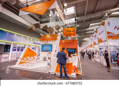 HANNOVER, GERMANY - MARCH 14, 2016: Booth of Alibaba Group at CeBIT information technology trade show in Hannover, Germany on March 14, 2016.