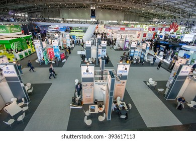 HANNOVER, GERMANY - MARCH 15, 2016: Multiple India booths at CeBIT information technology trade show in Hannover, Germany on March 15, 2016.