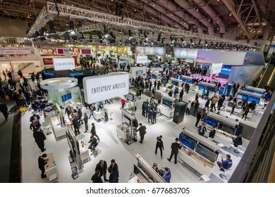 HANNOVER, GERMANY - MARCH 15, 2016: Hall 2 at CeBIT information technology trade show in Hannover, Germany on March 15, 2016.