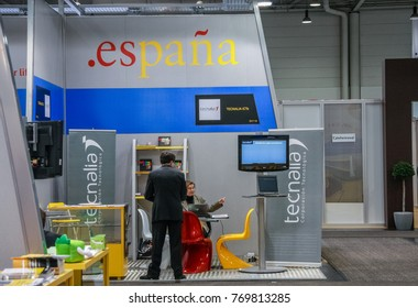 HANNOVER, GERMANY - MARCH 2, 2010: Booth of Spain at CeBIT information technology trade show in Hannover, Germany on March 2, 2010.