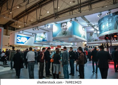 HANNOVER, GERMANY - MARCH 2, 2010: Booth of SAP company at CeBIT information technology trade show in Hannover, Germany on March 2, 2010.