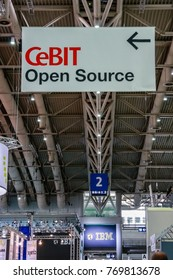 HANNOVER, GERMANY - MARCH 2, 2010: Open Source banner in hall 2 at CeBIT information technology trade show in Hannover, Germany on March 2, 2010.