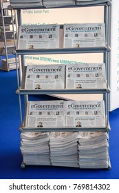 HANNOVER, GERMANY - MARCH 2, 2010: Bookstand with eGovernment newspaper in hall at CeBIT trade show in Hannover, Germany on March 2, 2010.
