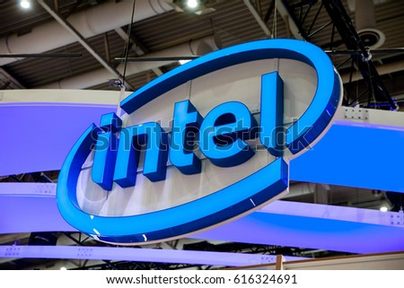 Hannover, Germany - March, 2017: Intel company logo on exhibition fair Cebit 2017 in Hannover Messe, Germany
