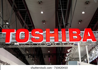 Hannover, Germany - March, 2017: Toshiba company logo sign on exhibition fair Cebit 2017 in Hannover Messe, Germany