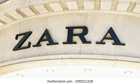 Hannover, Germany - May 7, 2018: Zara logo sign on facade of local shop of Spanish fast fashion retail chain company