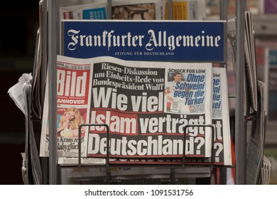 """HANNOVER / GERMANY, OCTOBER 5th, 2010: BILD newspaper on a rack with headline """"How much islam can Germany cope with?"""""""