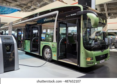HANNOVER, GERMANY - SEP 21, 2016: fully electric MAN Lionâ??s City eMobility city bus at the International Motor Show for Commercial Vehicles.