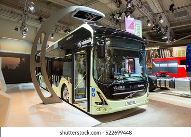 HANNOVER, GERMANY - SEP 21, 2016: Volvo 7900 electric hybrid bus on display at the International Motor Show for Commercial Vehicles.