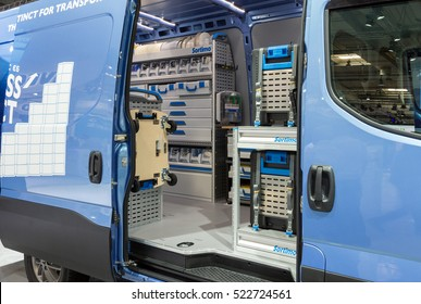 HANNOVER, GERMANY - SEP 21, 2016:  Iveco van with Sortimo in-vehicle storage equipment on display at the International Motor Show for Commercial Vehicles.