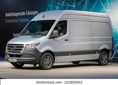 HANNOVER, GERMANY - SEP 27, 2018: New 2019 Mercedes-Benz Sprinter van showcased at the Hannover IAA Commercial Vehicles Motor Show.