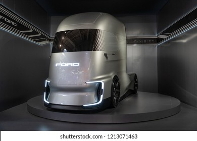 HANNOVER, GERMANY - SEP 27, 2018: Ford F-Vision Future electric and autonomous truck showcased at the Hannover IAA Commercial Vehicles Motor Show.