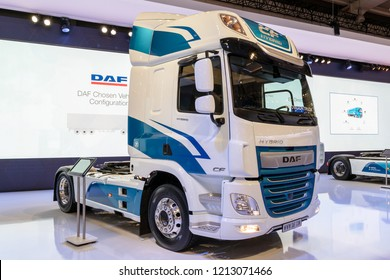 HANNOVER, GERMANY - SEP 27, 2018: New DAF CF Hybrid truck showcased at the Hannover IAA Commercial Vehicles Motor Show.