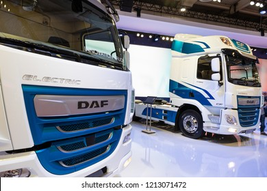 HANNOVER, GERMANY - SEP 27, 2018: DAF CF Hybrid and Electric trucks presented at the Hannover IAA Commercial Vehicles Motor Show.
