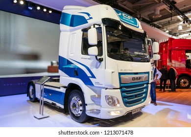 HANNOVER, GERMANY - SEP 27, 2018: New DAF CF Electric truck showcased at the Hannover IAA Commercial Vehicles Motor Show.