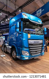 HANNOVER, GERMANY - SEP 27, 2018: DAF XF 530 FT SSC Tractor Truck showcased at the Hannover IAA Commercial Vehicles Motor Show.