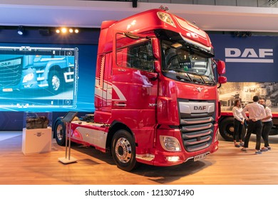 HANNOVER, GERMANY - SEP 27, 2018: New DAF XF 530 FT SSC Tractor Truck showcased at the Hannover IAA Commercial Vehicles Motor Show.
