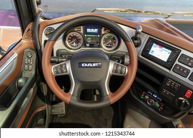 HANNOVER, GERMANY - SEP 27, 2018: Interior of the DAF XF 530 FT SSC Tractor Truck showcased at the Hannover IAA Commercial Vehicles Motor Show.
