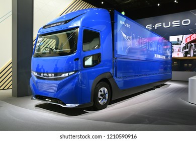 Hannover, Germany - September, 19, 2018: E-Fuso Vision One electric truck during presentation on IAA Motor Show.