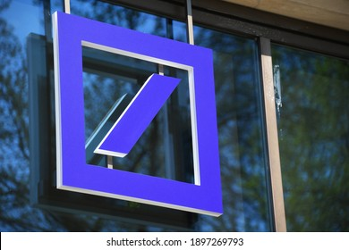 Hannover, Lower Saxony, Germany - April 12, 2020: Logo of Deutsche Bank Hanover, Germany - DB is a German multinational investment bank and financial services company