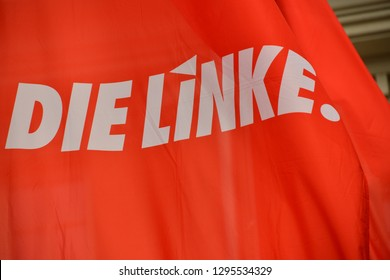 Hannover, Lower Saxony / Germany - June 21, 2017: Flag with the sign of Die Linke, The Left, in Hannover Germany  -  The Left Party is a democratic socialist political party in Germany
